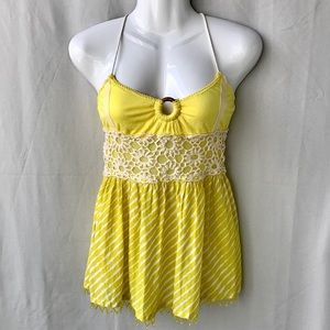 Free People Yellow Strappy Tunic Top, Flawed, Med